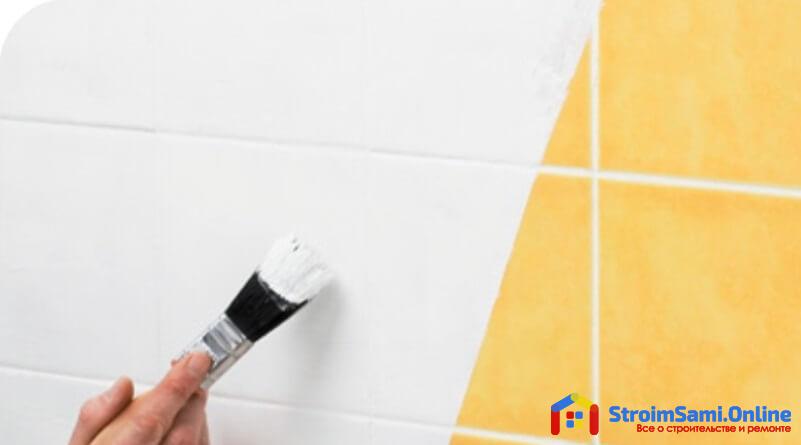 На фото: покраска кафельной плитки в ванной своими руками