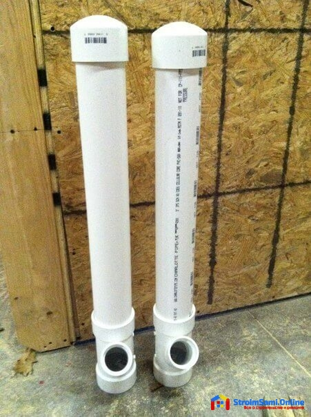 На фото: трубы ПВХ для изготовления кормушки для кур