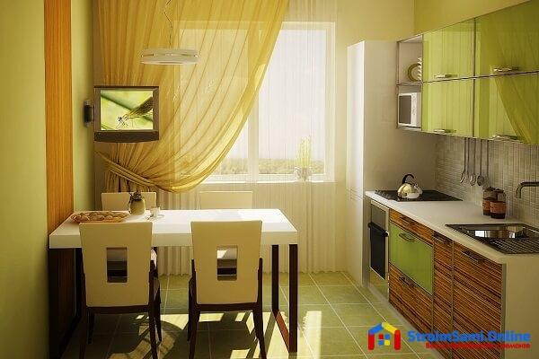 Дизайн кухни 7 кв. м.: фото, новинки 2019 с холодильником