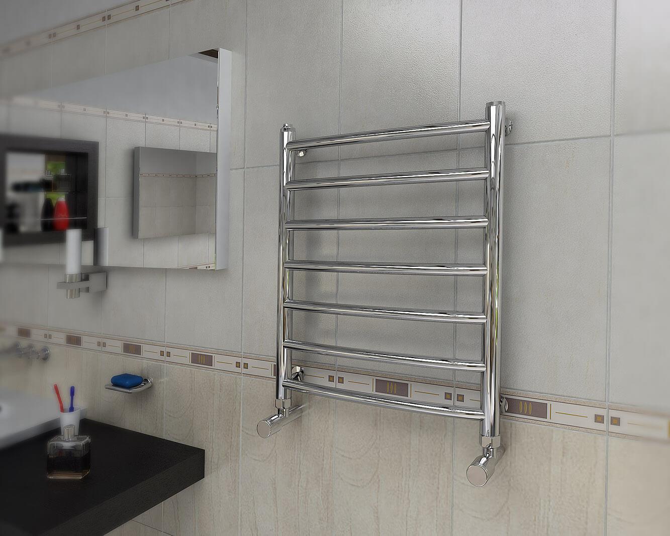 На фото: полотенцесушитель из нержавеющей стали