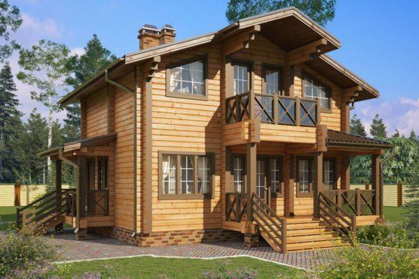 На фото: дом из клееного бруса