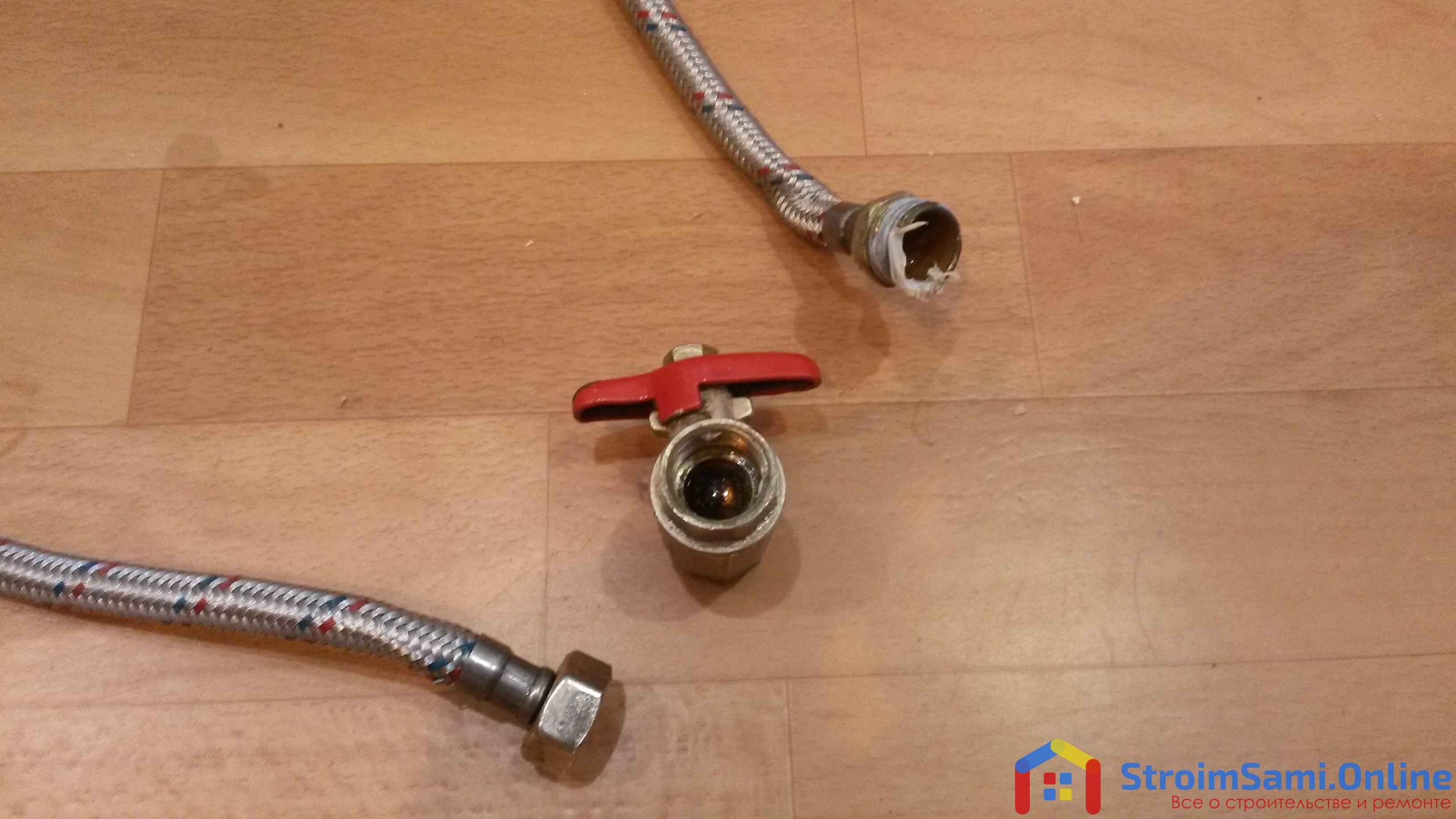 Замена перекрывающего крана и гибкой подводки к сливному бачку унитаза