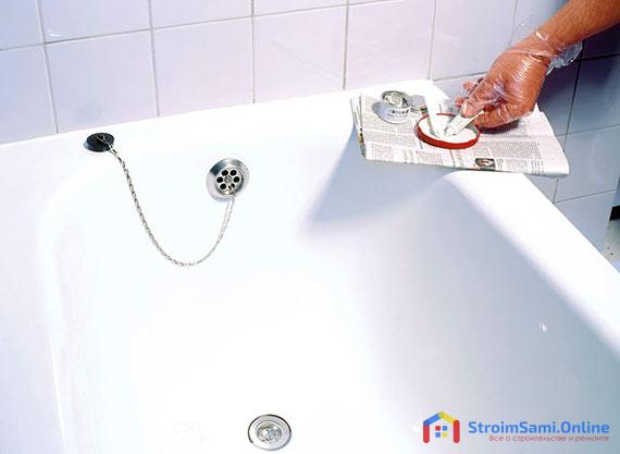 Как заделать скол эмали на ванной своими руками