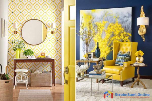 Сочетание желтого цвета с другими цветами в интерьере