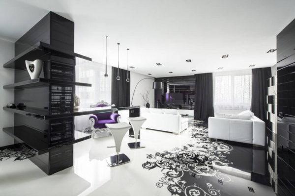 Дизайн интерьера в черно-белых тонах