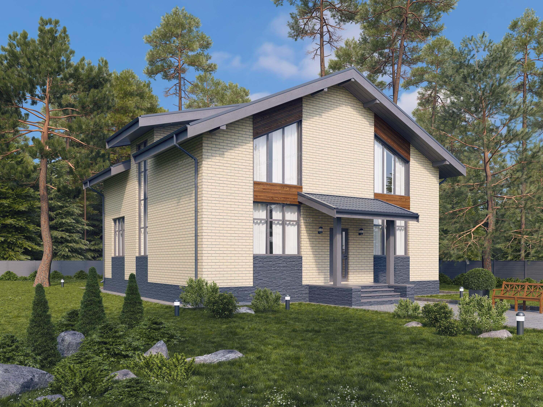 Проект двухэтажного дома из газобетона в европейском стиле