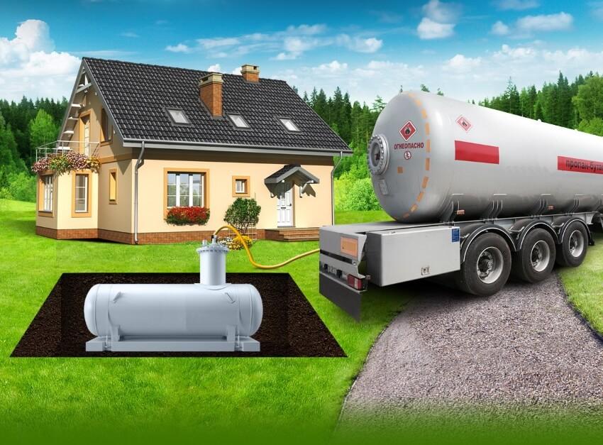 На фото: принцип работы автономной газификации
