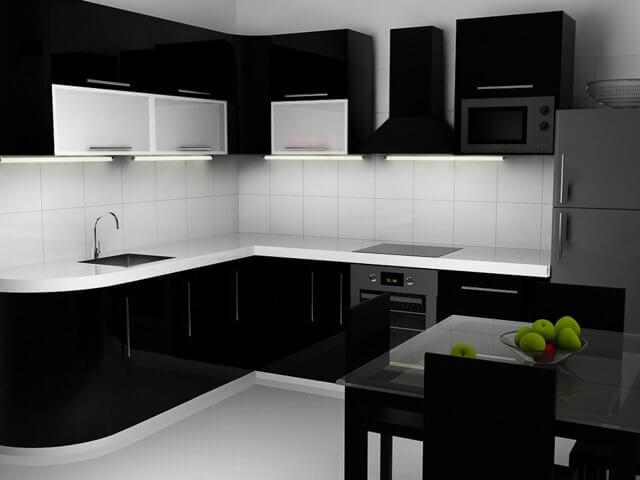 Черная глянцевая кухня на заказ