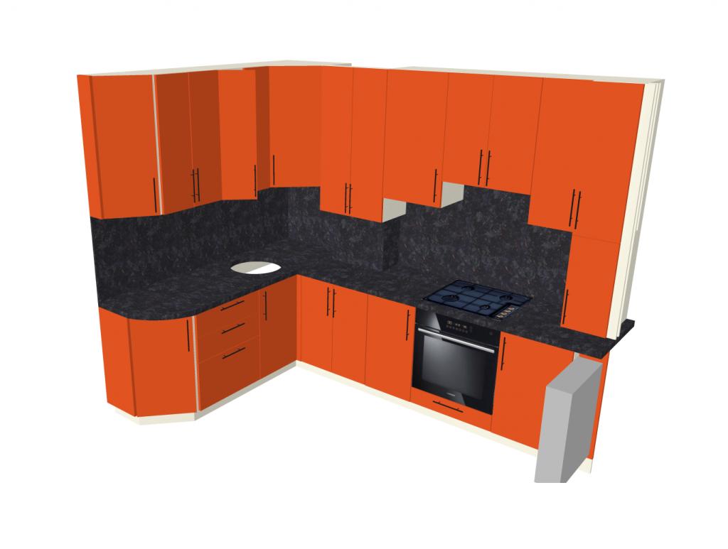 На фото: 3D эскиз кухонного гарнитура