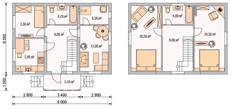 Проект 2-х этажного каркасного дома 6,5*9 м, общей площадью 97 кв. м