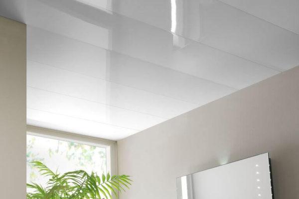 На фото: потолок из глянцевых панелей ПВХ