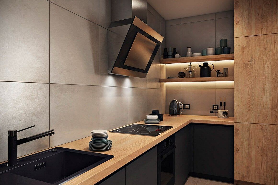 На фото: кухня с вытяжкой без навесных шкафов