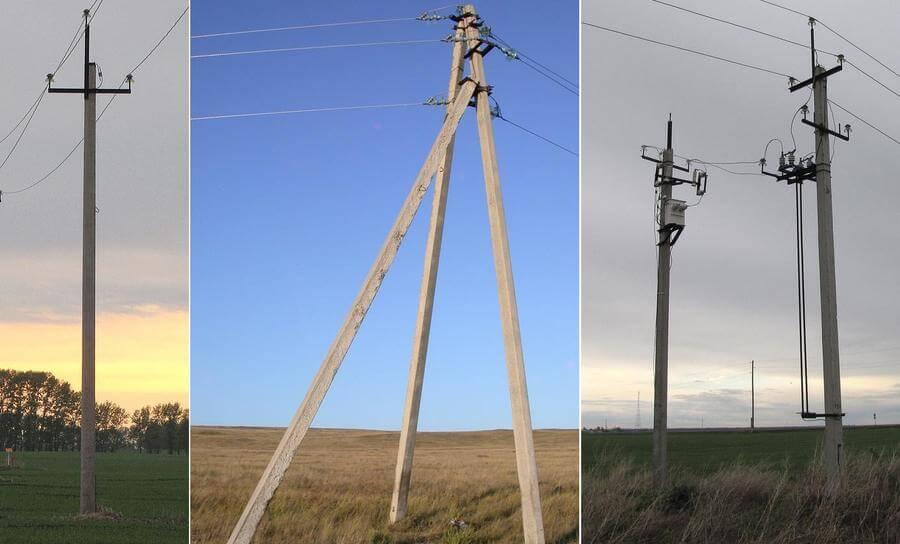 На фото: разновидности опор для линий электропередач