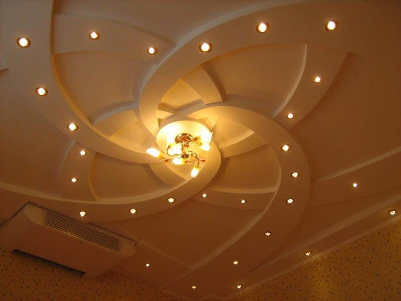 Потолок из гипсокартона: фото в интерьере