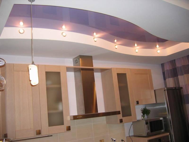 Потолки из гипсокартона: фото в интерьере кухни