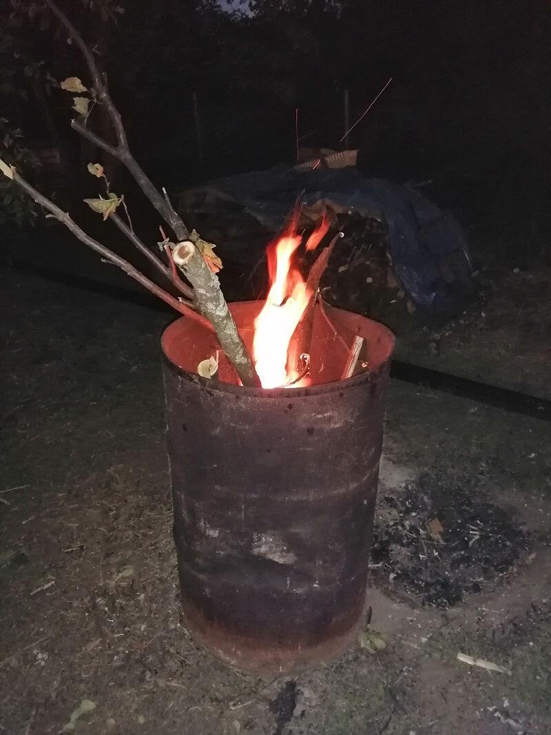 На фото: сжигание веток в железной бочке на дачном участке | © StroimSami.online