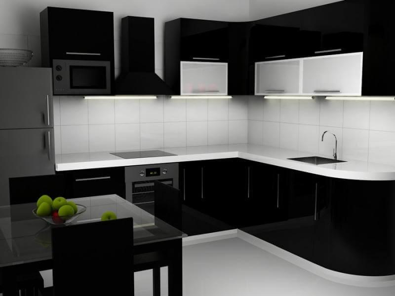 На фото: кухонный гарнитур черного цвета