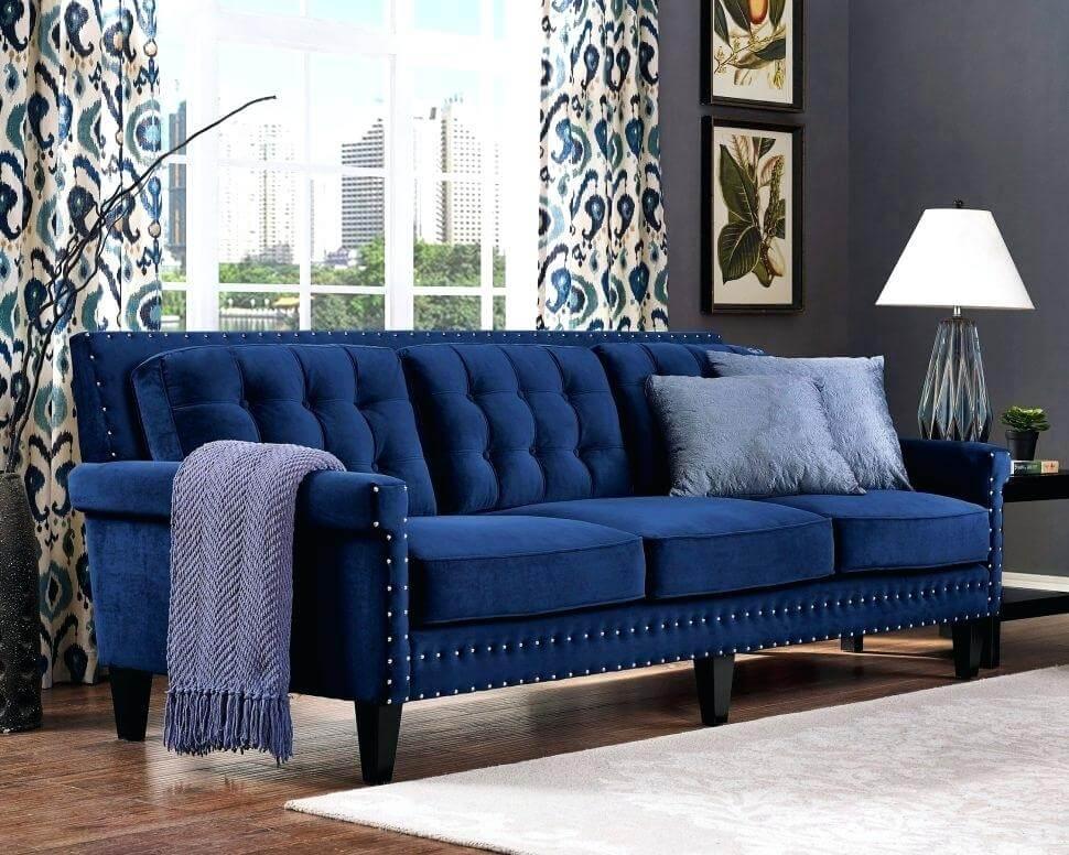 Синий велюровый диван: фото в интерьере
