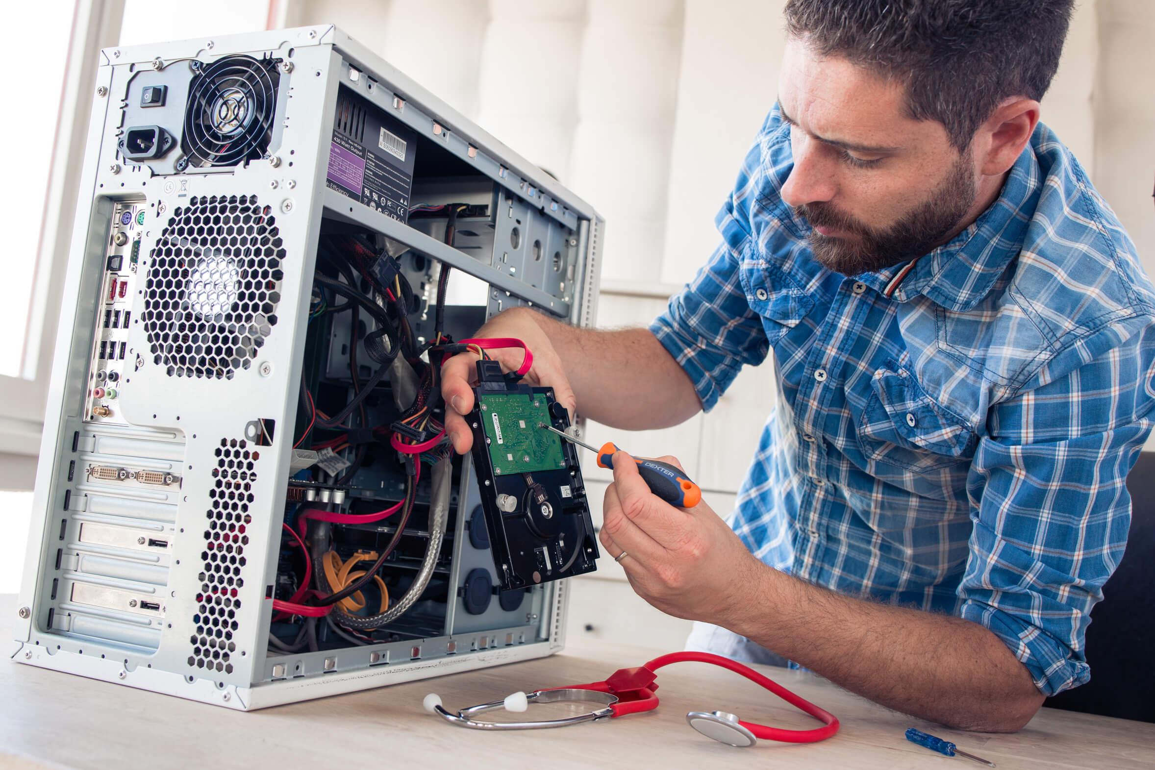 Какие работы входят в сервисное обслуживание корпоративных компьютеров?