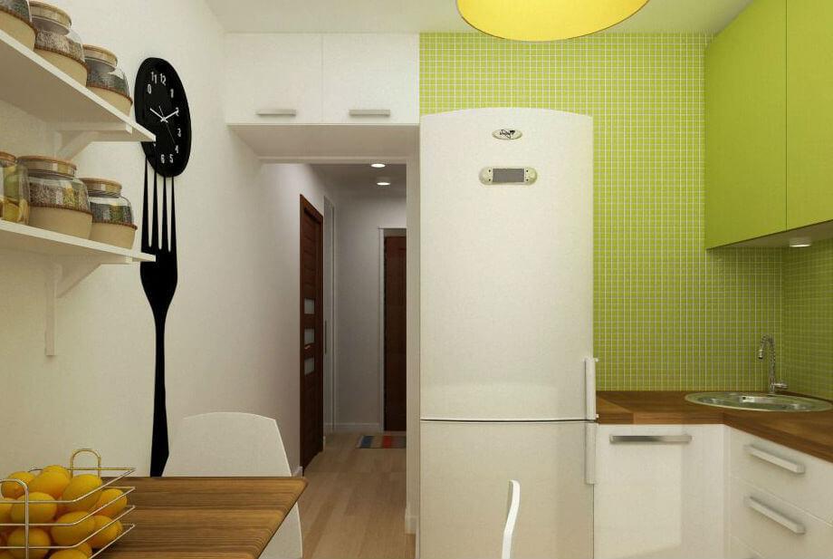 Дизайн кухни 5 м² с холодильником: реальные фото в интерьере