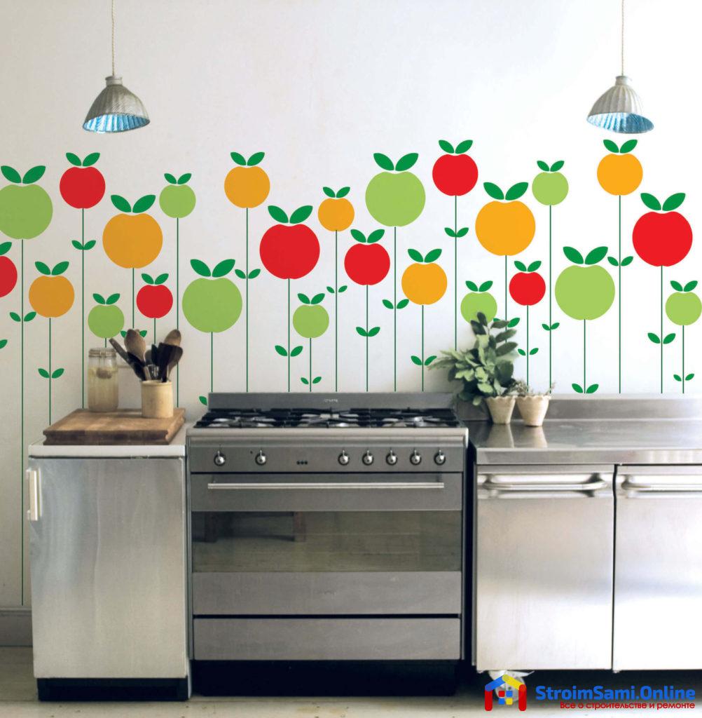 На фото: виниловые наклейки на стену для кухни