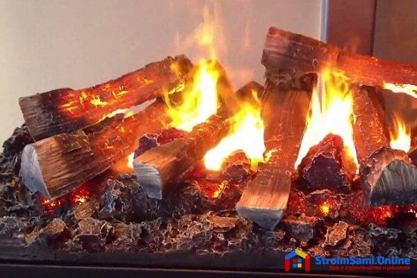 На фото: электрокамин с эффектом живого огня