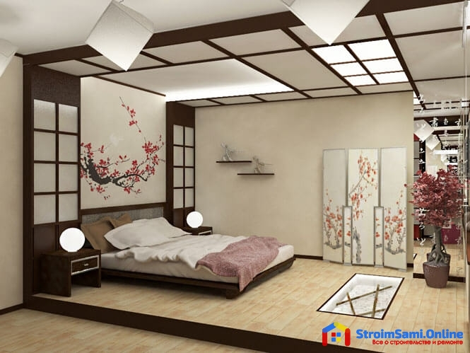 На фото: интерьер спальни в японском стиле