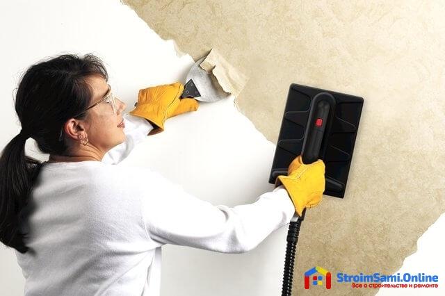 Термический способ удаления обоев со стен