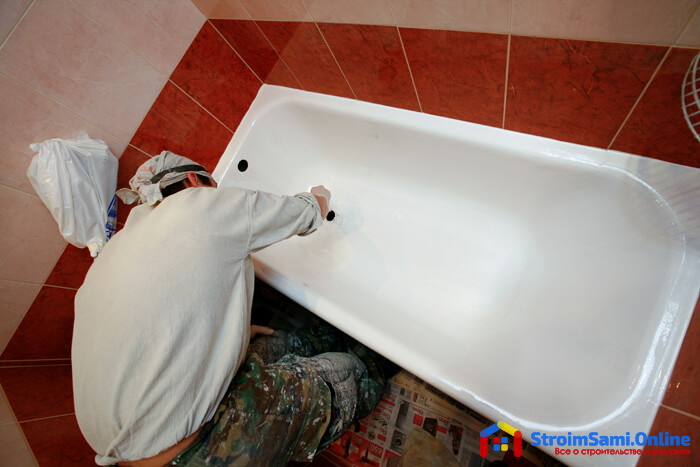 На фото: реставрация ванны