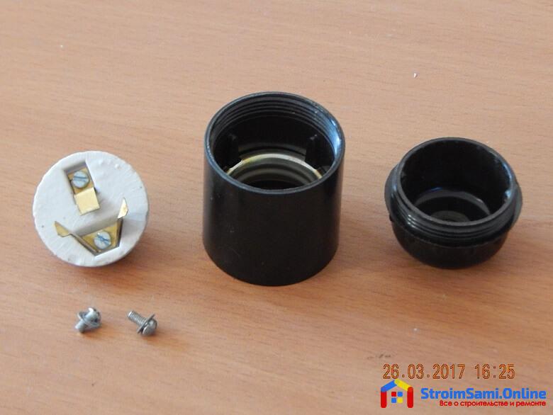 На фото: устройство карболитового патрона e27