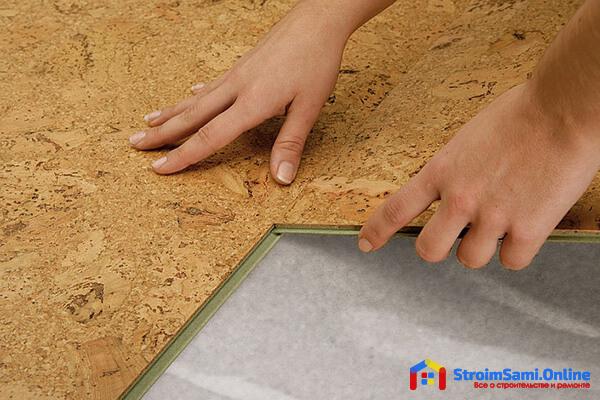 На фото: пробковое напольное покрытие