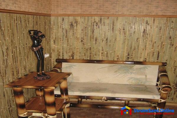 На фото: бамбуковые обои в интерьере