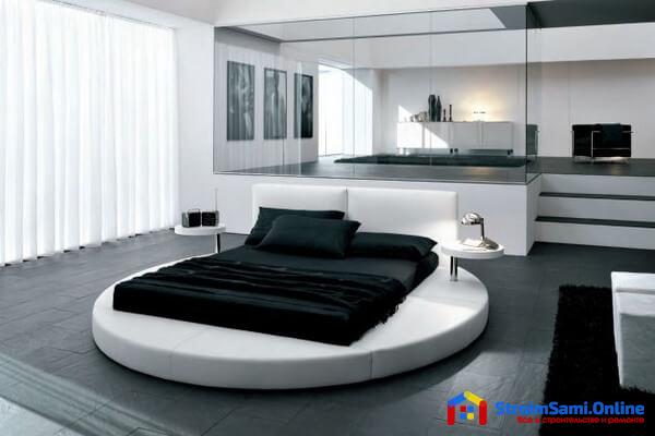 На фото: дизайн спальни в стиле хайтек