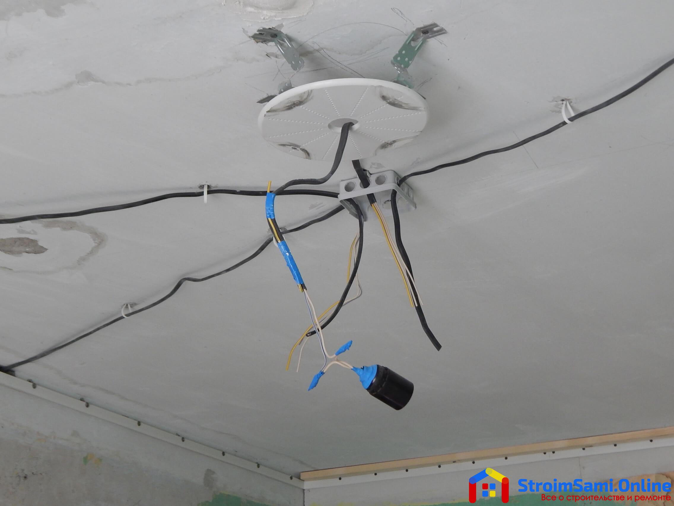 На фото: кабель в распредкоробке