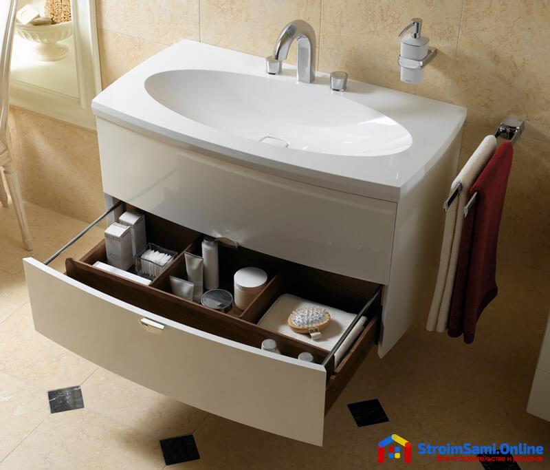 На фото: тумба с раковиной для ванной