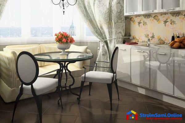 На фото: диван для кухни в интерьере