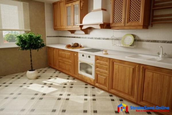 Керамическая плитка для пола на кухне