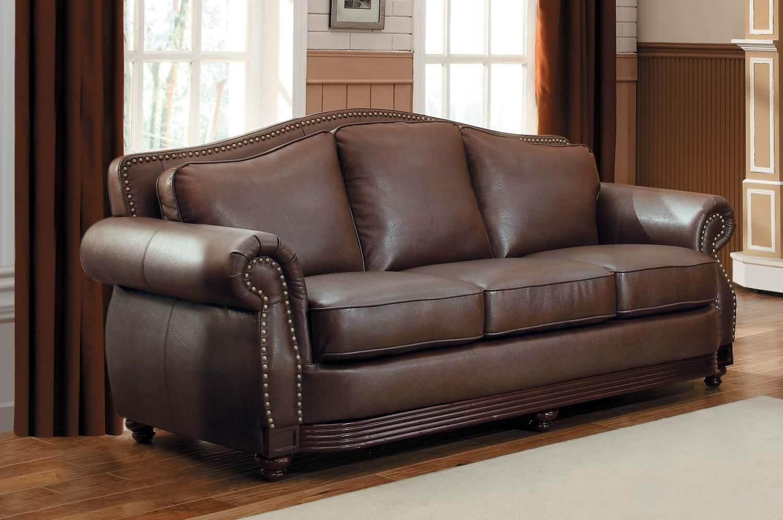 Кожаный диван в интерьере гостиной (фото)