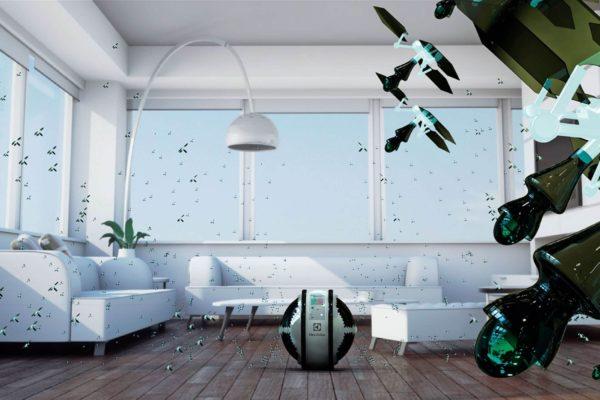 На фото: летающие мини-роботы пылесосы