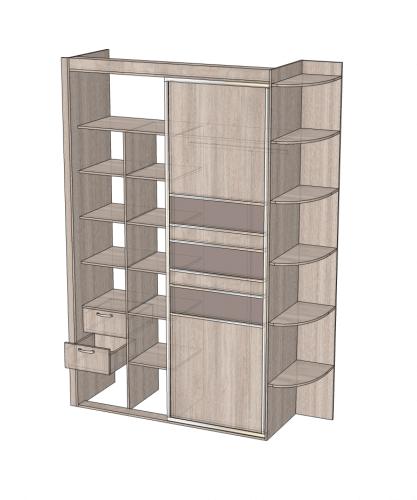 Фото 4: шкаф в спальню (вид с открытым отсеком с ящиками для хранения вещей)