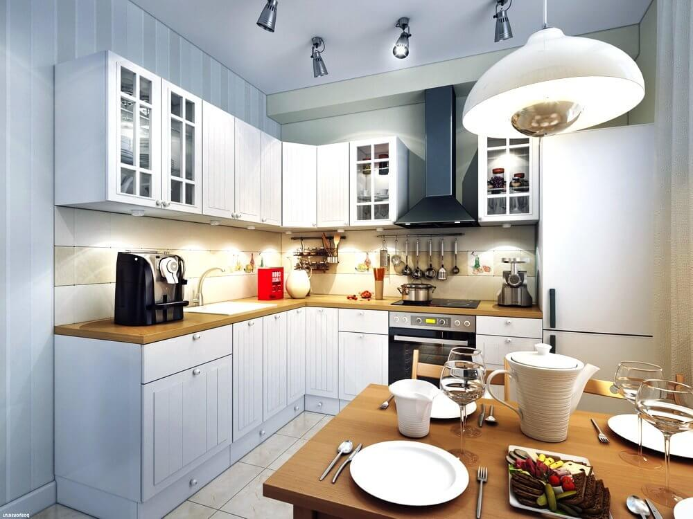 Споты в интерьере кухни (фото)
