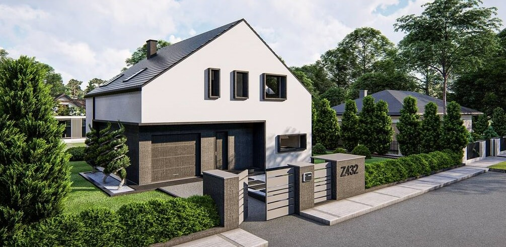 На фото: проект дома с гаражом
