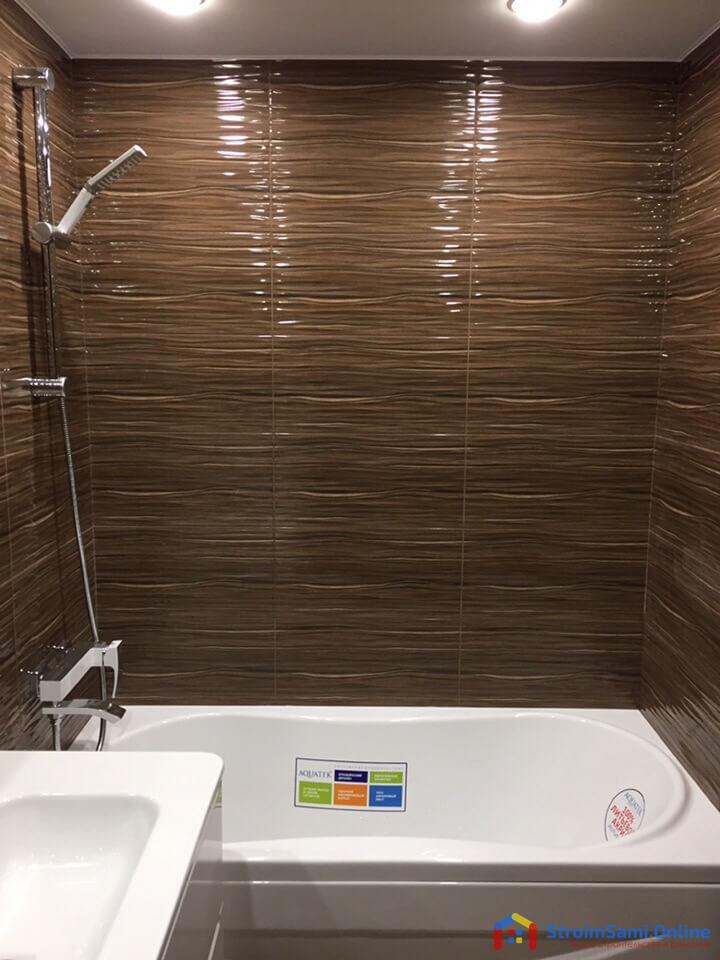 На фото: дизайн ванной в темных тонах