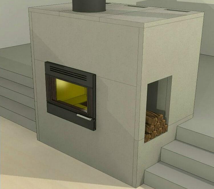 На фото: защитный короб для печи в бане