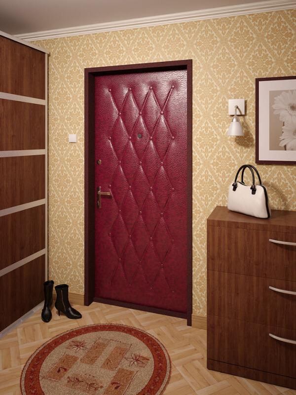 На фото: входные двери из винилискожи